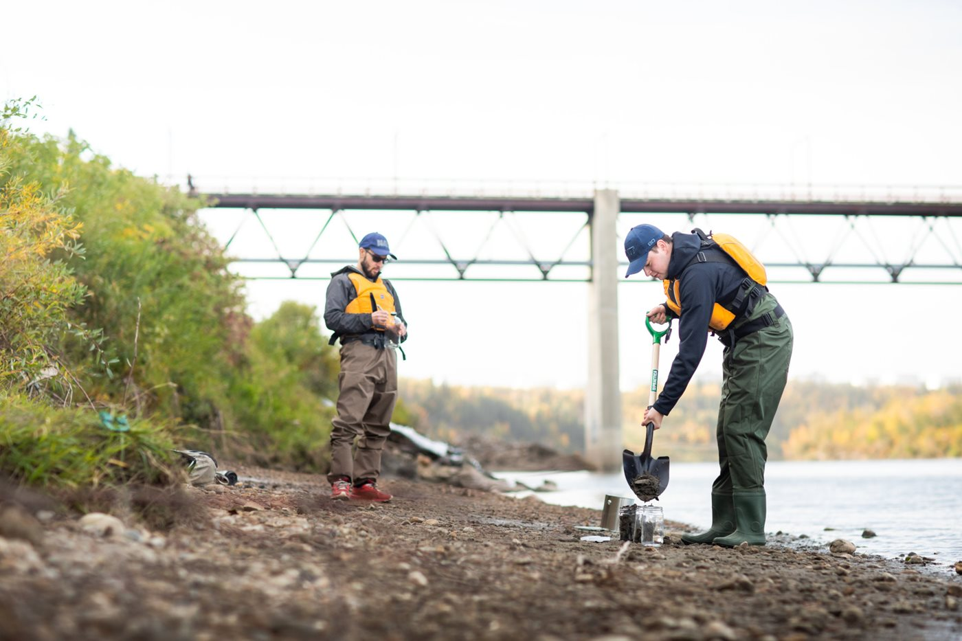 Sediment and water sampling on North Saskatchewan River for microplastics project.
