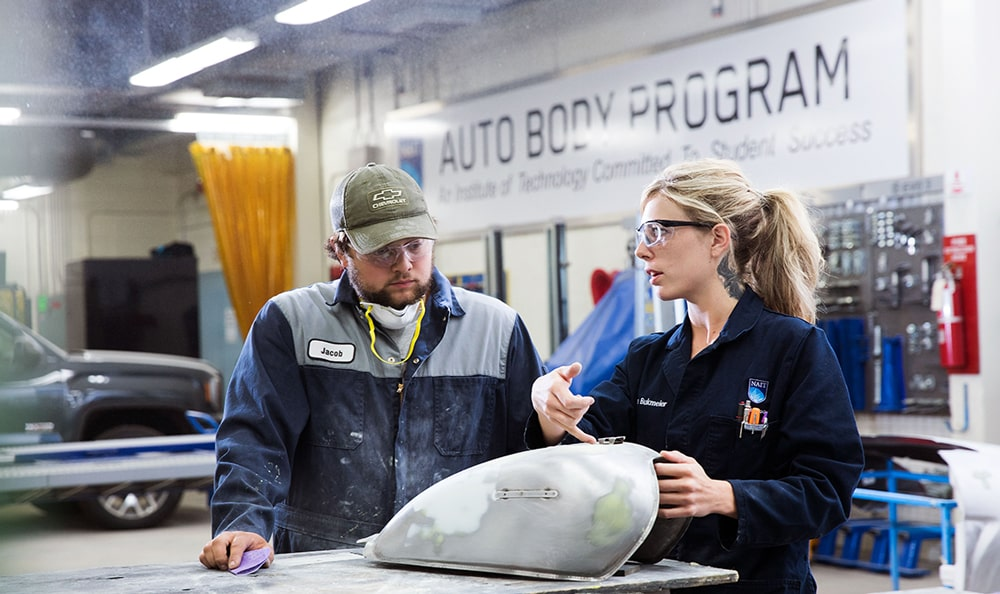 Auto Body Repair Instructor and Student